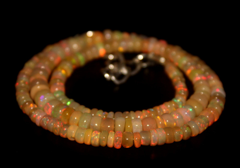 54 Crts Natural Ethiopian Welo Opal Beads Necklace 671