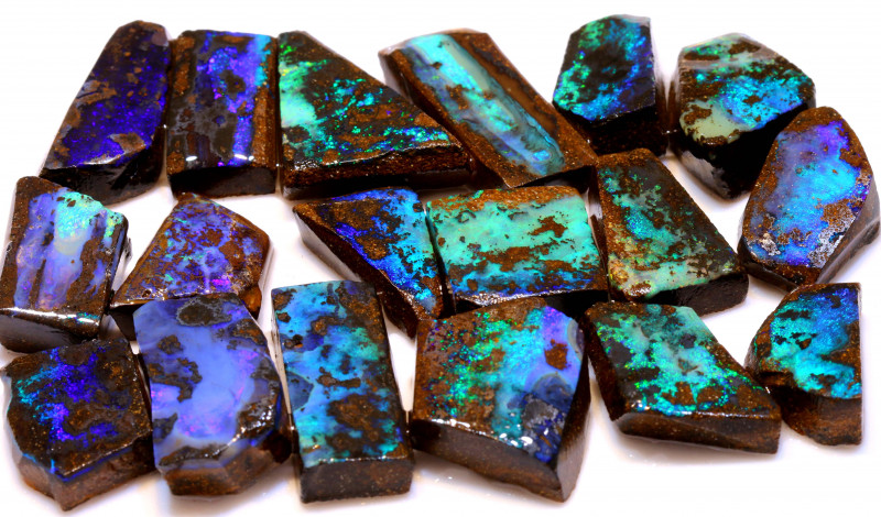 550cts boulder opal green blue large blocked out rub parcel 18PCS