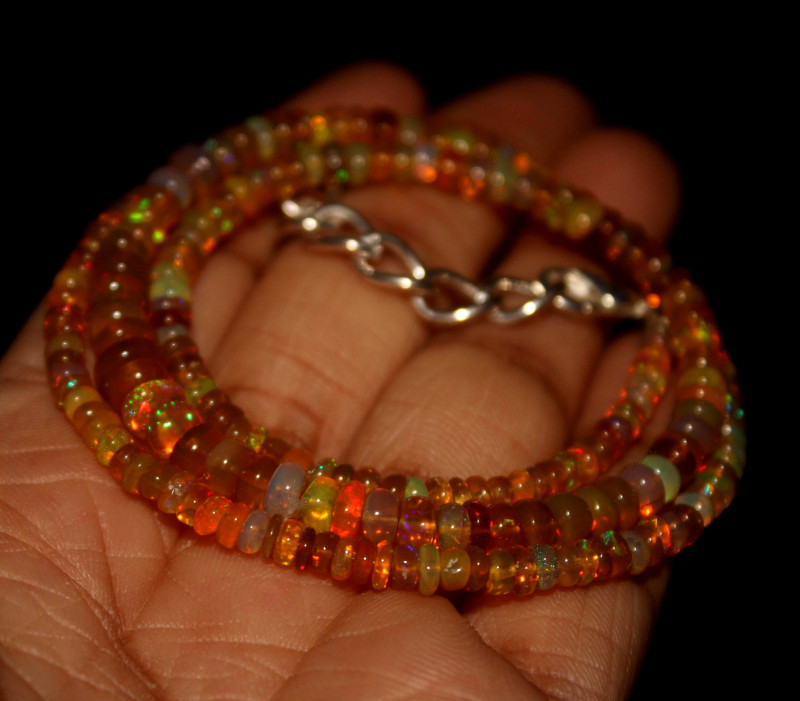 42 Crts Natural Ethiopian Welo Opal Beads Necklace 681