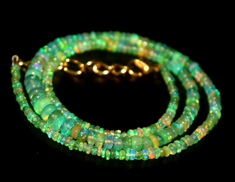 35 Crts Natural Ethiopian Welo Green Opal Beads Necklace 119