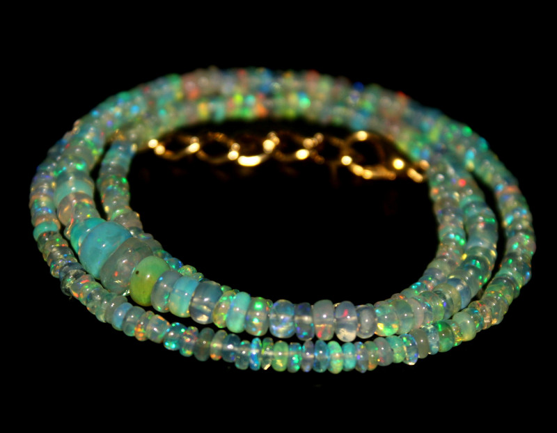 32 Crts Natural Ethiopian Welo Sky Blue Opal Beads Necklace 126