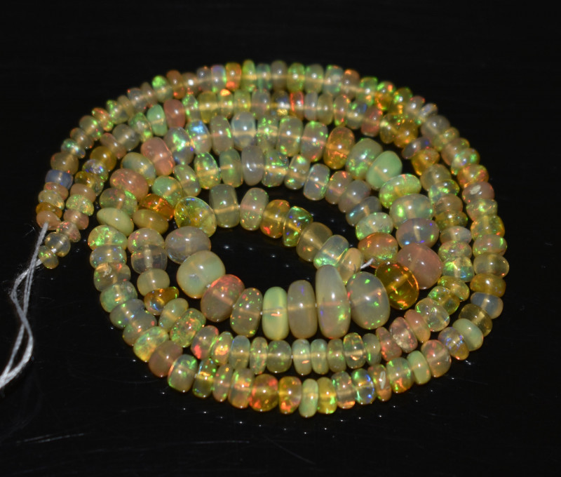 42.55 Ct Natural Ethiopian Welo Opal Beads Play Of Color OB271