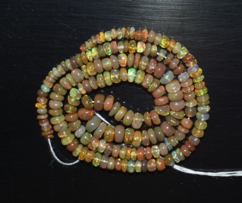 39.65 Ct Natural Ethiopian Welo Opal Beads Play Of Color OB275