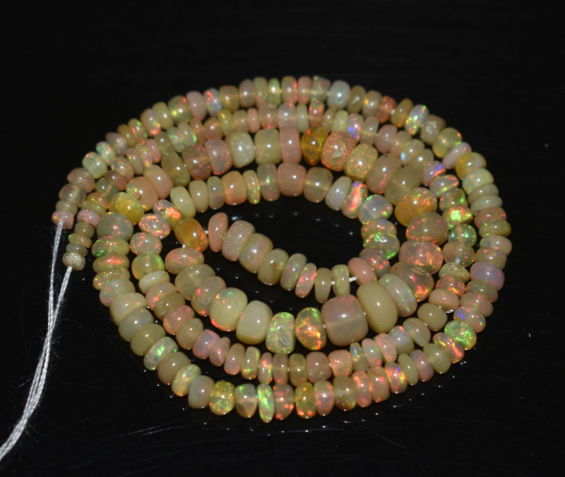 37.85 Ct Natural Ethiopian Welo Opal Beads Play Of Color OB278