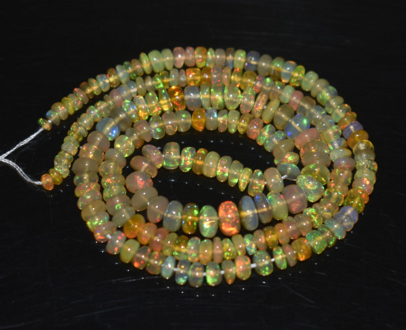 37.10 Ct Natural Ethiopian Welo Opal Beads Play Of Color OB281