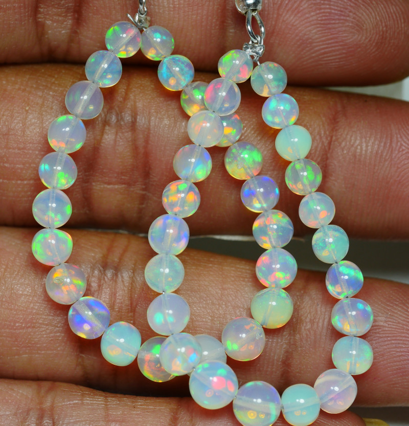 1 PAIR EARNINGS BEAUTIFUL OPAL BEADS STRANDS MULTI PLAY COLOR WELO OPAL-