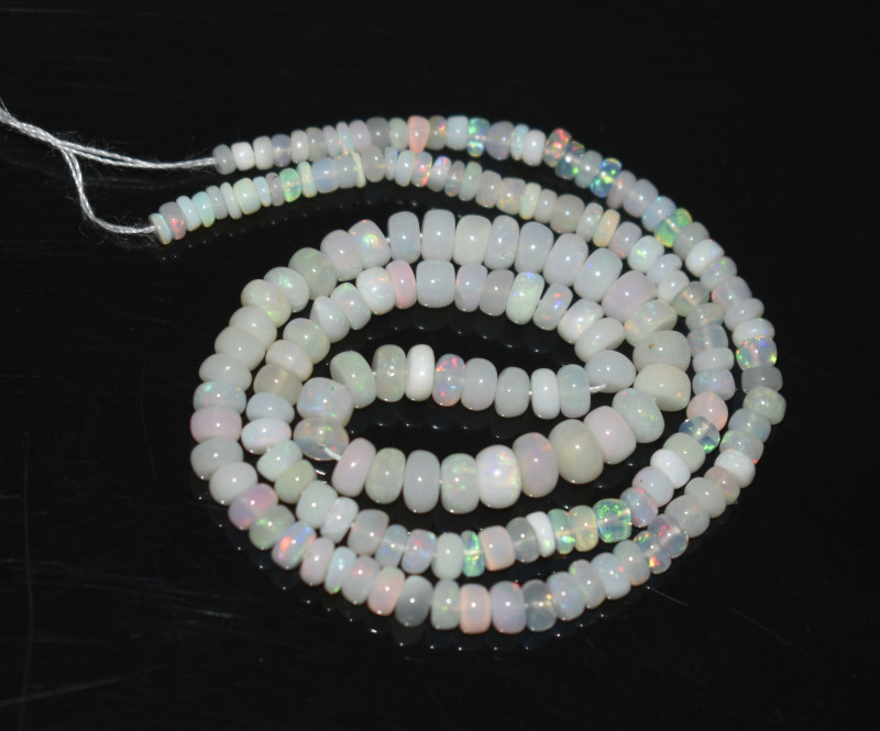 32.75 Ct Natural Ethiopian Welo Opal Beads Play Of Color OB284