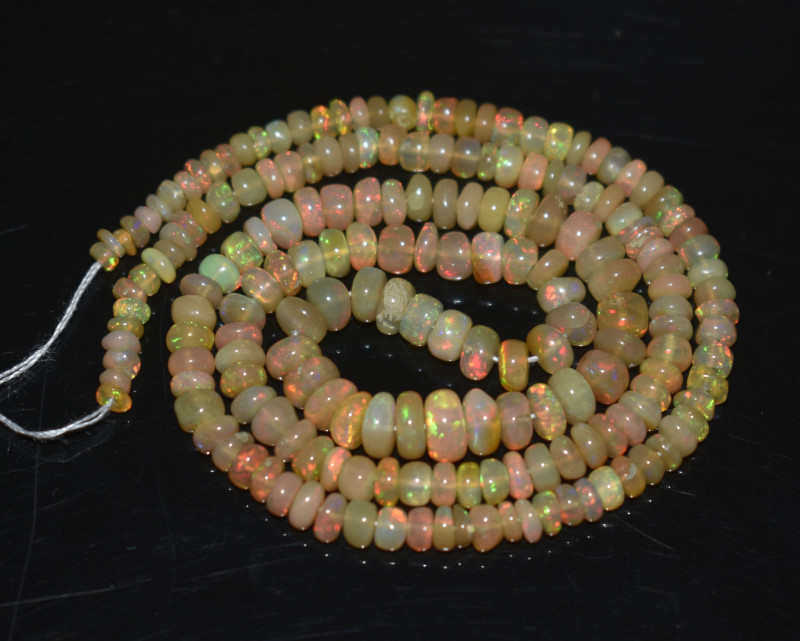 36.90 Ct Natural Ethiopian Welo Opal Beads Play Of Color OB288