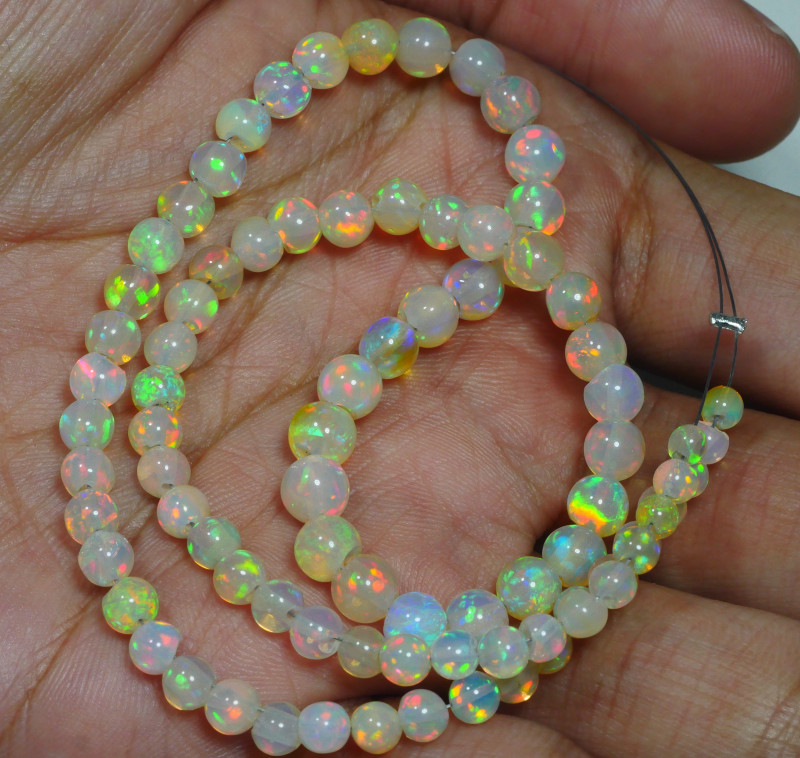 37.400 CRT BEAUTIFUL OPAL BEADS STRANDS MULTI PLAY COLOR WELO OPAL-