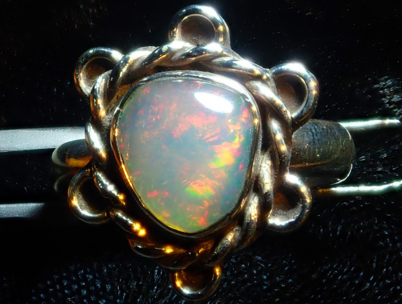 8.7sz Solid Ethiopian Opal High Quality .925 Sterling Fabulous Ring