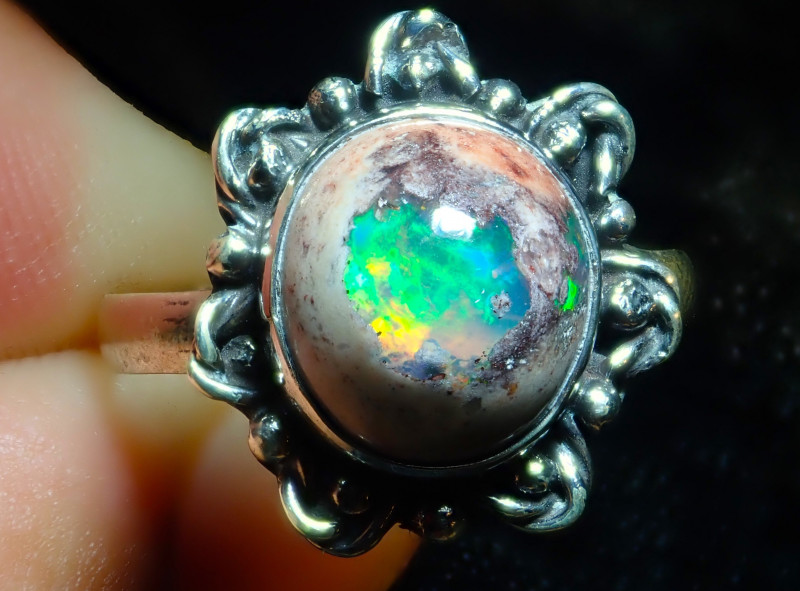 8.7sz Solid Mexican Opal High Quality .925 Sterling Fabulous Ring