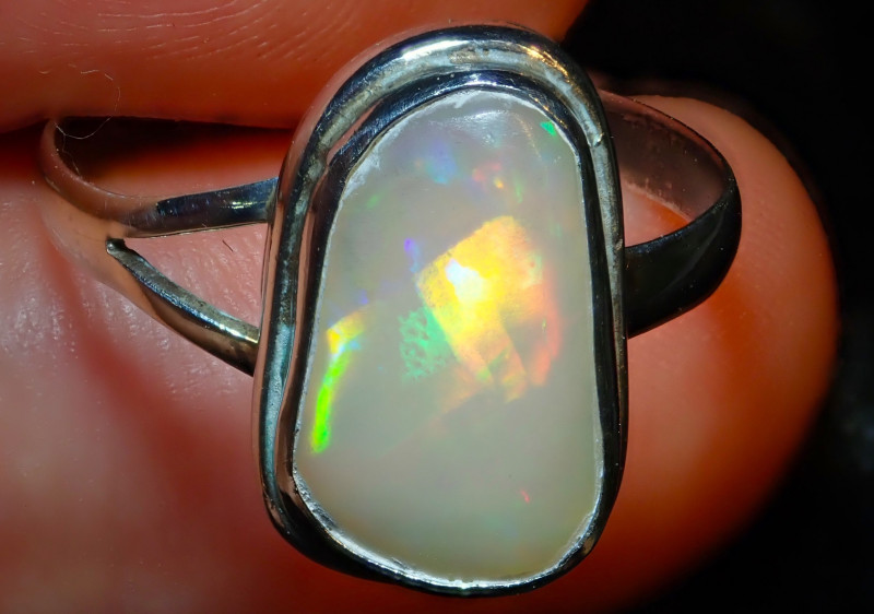 8sz Solid Ethiopian Opal High Quality .925 Sterling Fabulous Ring