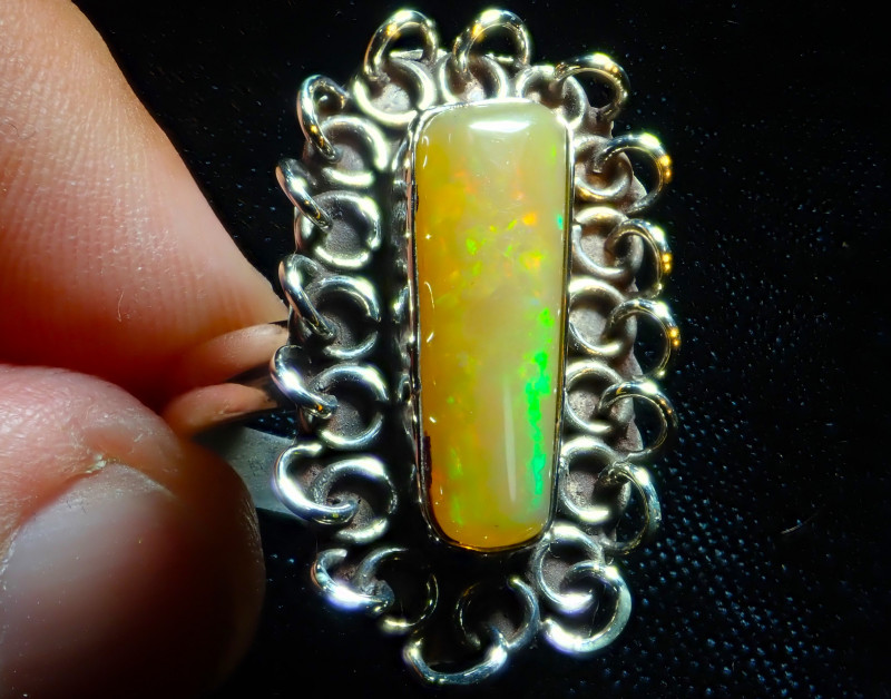 8.5sz Solid Ethiopian Opal High Quality .925 Sterling Fabulous Ring