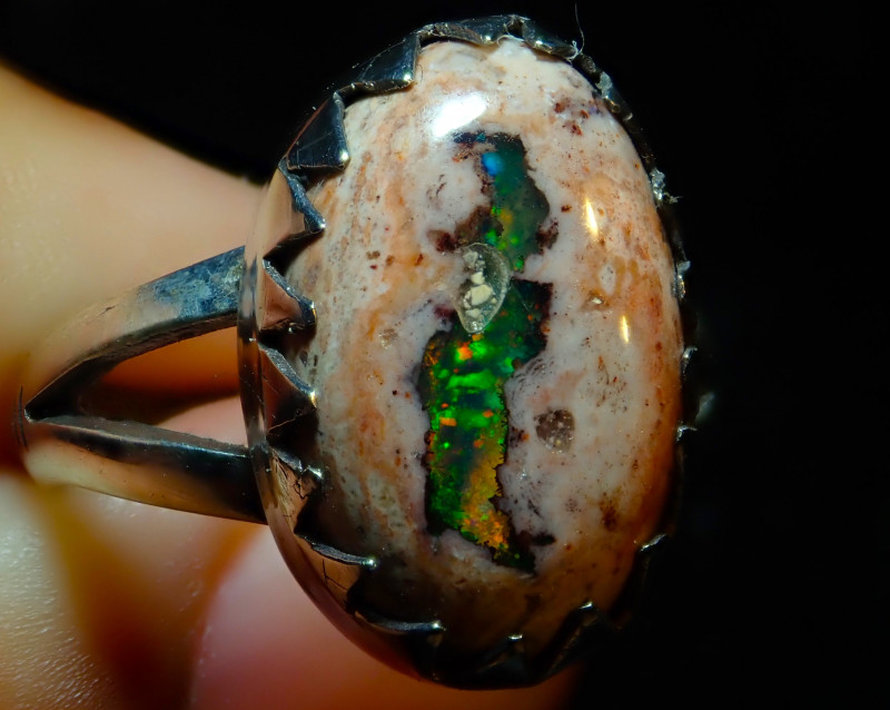 8sz Solid Mexican Opal High Quality .925 Sterling Fabulous Ring