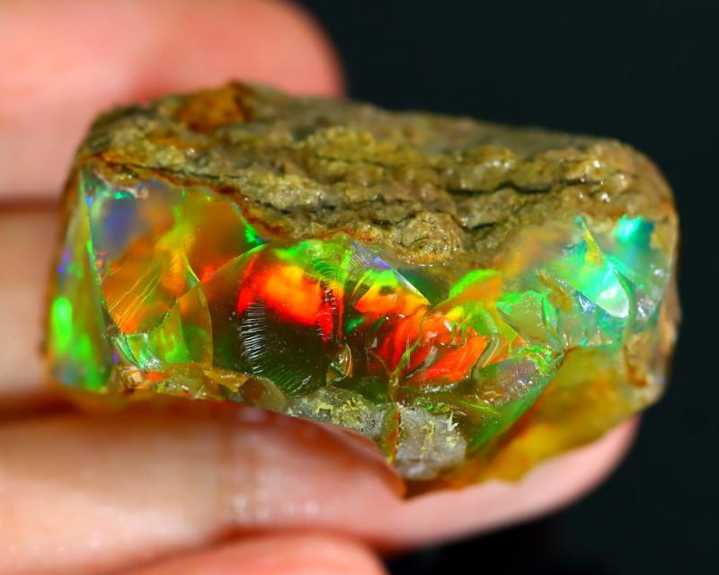 90Ct Flash Fire Gamble Rough Ethiopian Delanta Crystal Opal Rough ET019