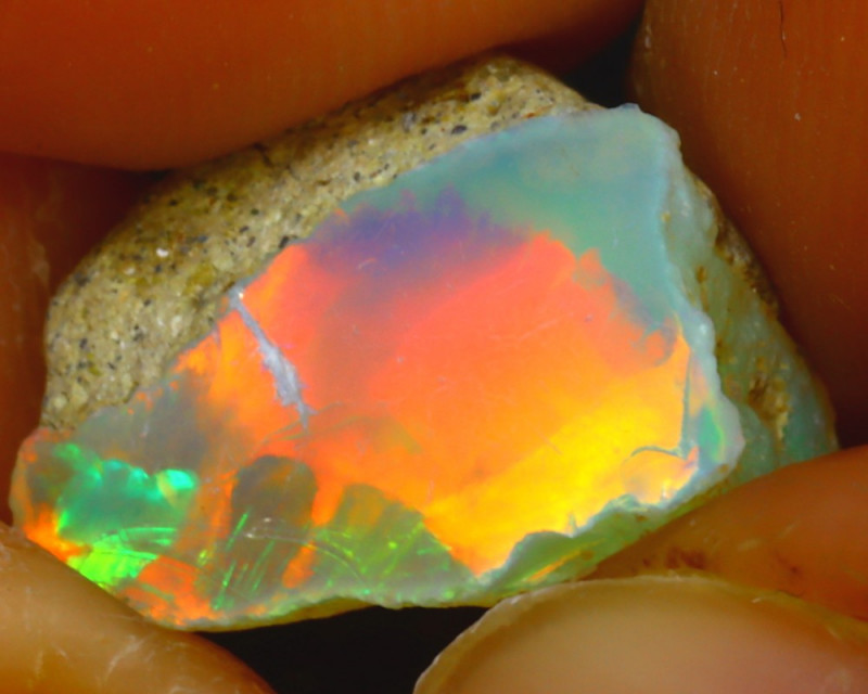 6.20Ct Multi Color Play Ethiopian Welo Opal Rough J0809/R2