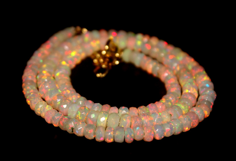 48 Crts Natural Ethiopian Welo Faceted Opal Beads Necklace 275