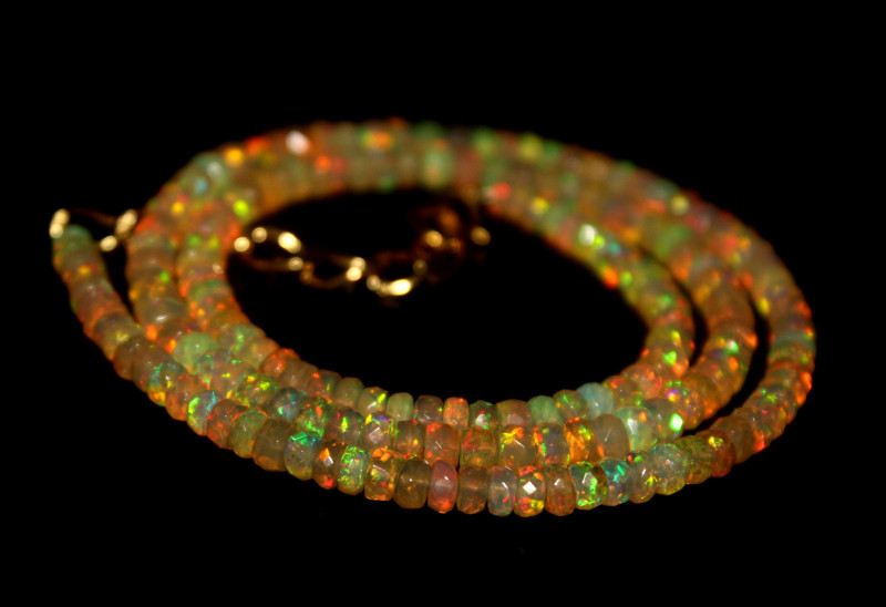 35 Crts Natural Ethiopian Welo Faceted Opal Beads Necklace 277