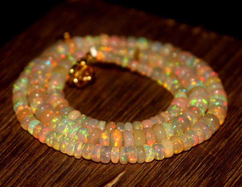 48 Crts Natural Ethiopian Welo Opal Beads Necklace 548