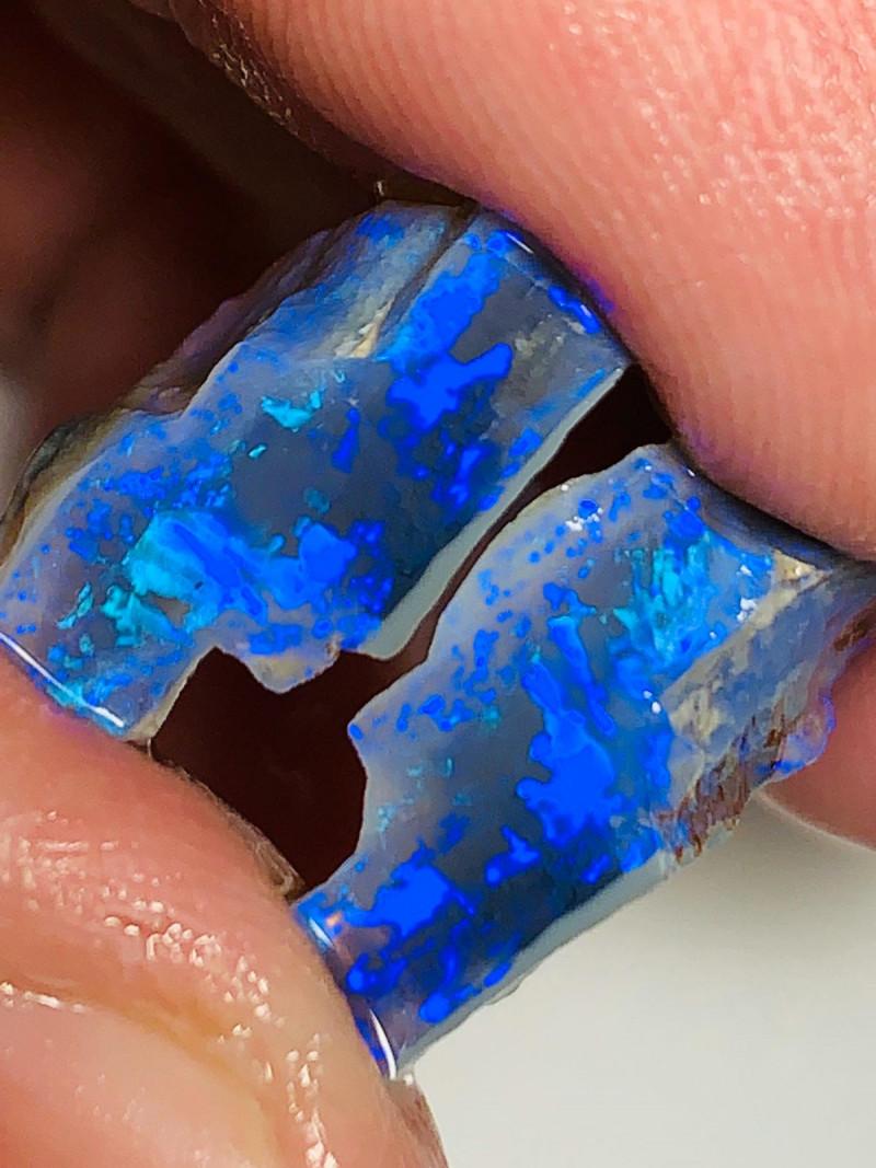 High Grade Semi Black Seam Opal Split to Cut a Pair of Gem