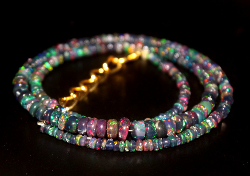 31 Crts Natural Ethiopian Welo Smoked Opal Beads Necklace 114