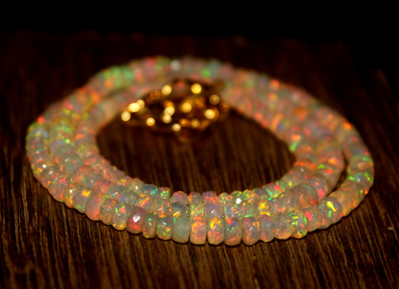 32 Crts Natural Ethiopian Welo Faceted Opal Beads Necklace 278