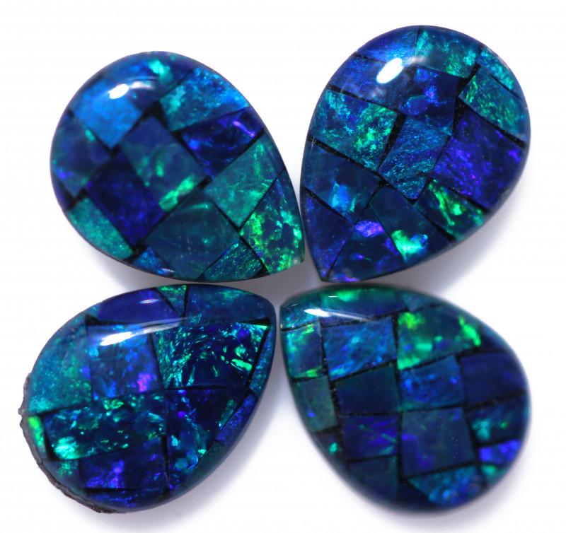 2.80 Cts Pear Drop Australian Opal Triplet Mosaic     CCC 3189