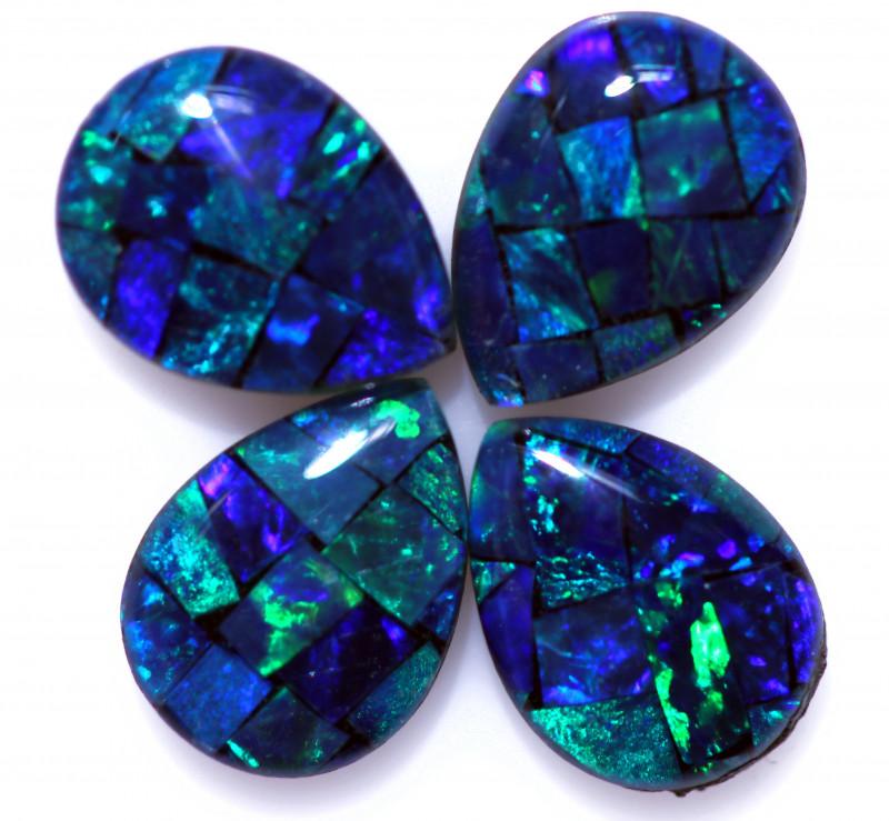 2.80 Cts Pear Drop Australian Opal Triplet Mosaic     CCC 3191