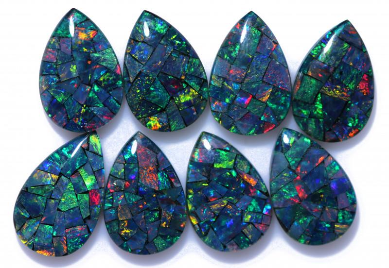 14 Cts Pear Drop Australian Opal Triplet Mosaic  CCC 3204