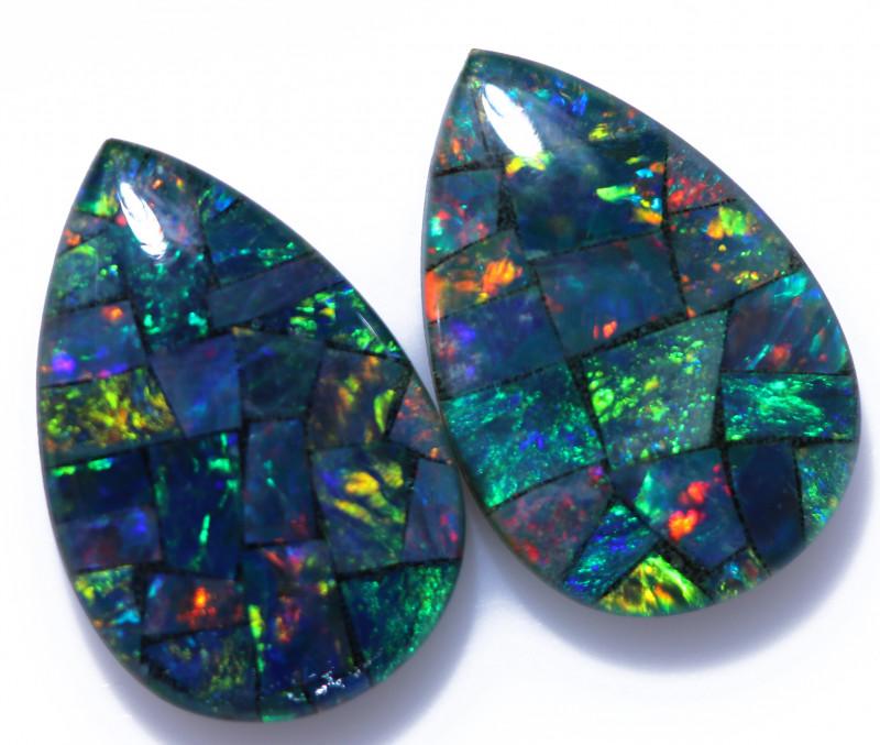4 Cts Pear Drop Australian Opal Triplet Mosaic  CCC 3206