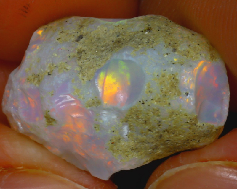 10.80Ct Multi Color Play Ethiopian Welo Opal Rough HF1118/R2