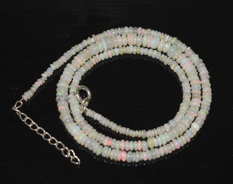 OPAL NECKLACE MADE WITH NATURAL ETHIOPIAN BEADS STERLING SILVER OBJ-255