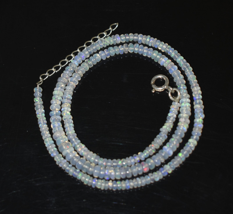 OPAL NECKLACE MADE WITH NATURAL ETHIOPIAN BEADS STERLING SILVER OBJ-256