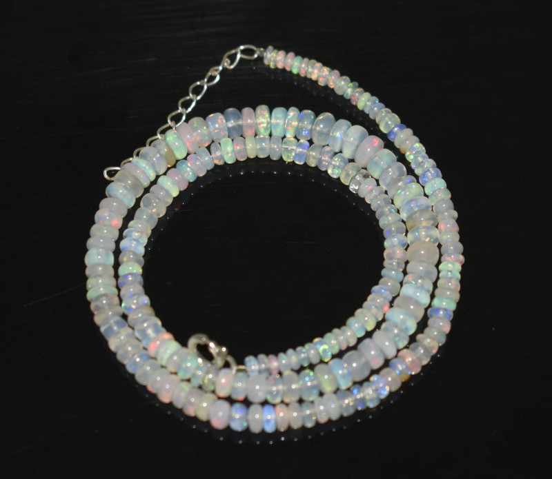 OPAL NECKLACE MADE WITH NATURAL ETHIOPIAN BEADS STERLING SILVER OBJ-257