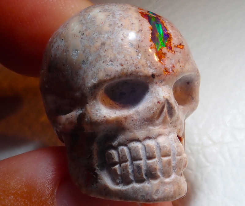 $1 NR Auction 60ct Skull Mexican Cantera Figurine Opal