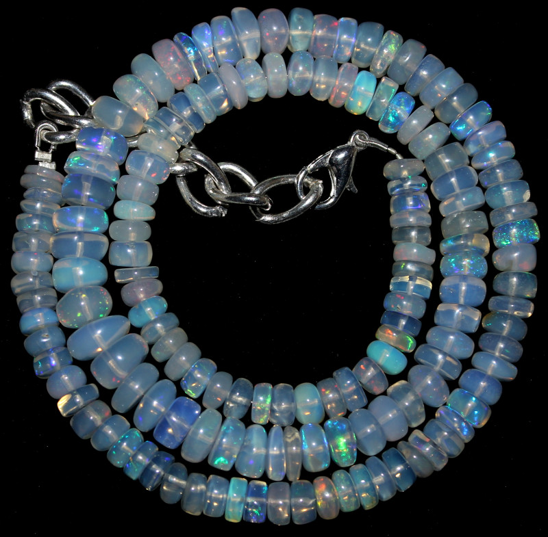 87 Crts Natural Ethiopian Welo Opal Beads Necklace 3250