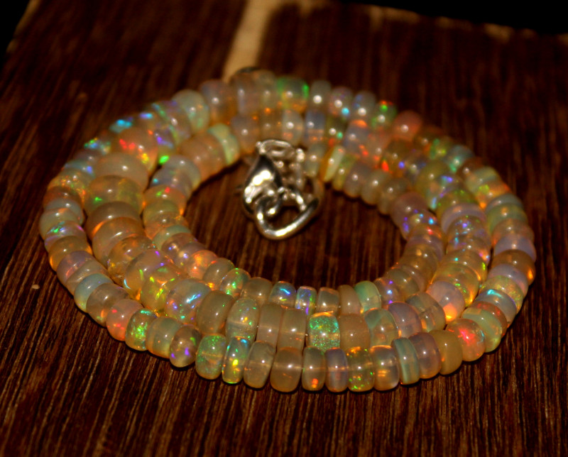 86 Crts Natural Ethiopian Welo Opal Beads Necklace 3337