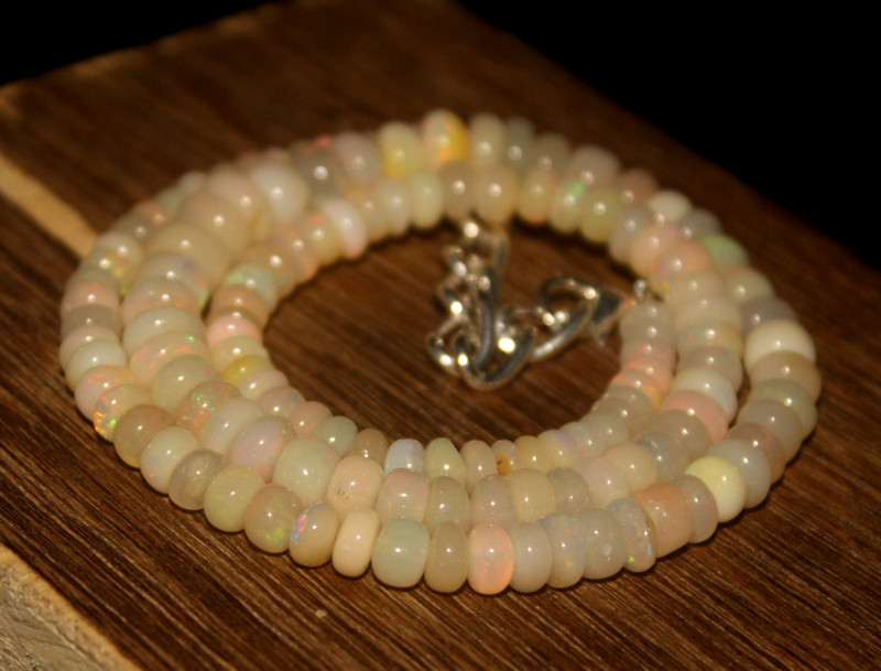 83 Crts Natural Ethiopian Welo Opal Beads Necklace 3363