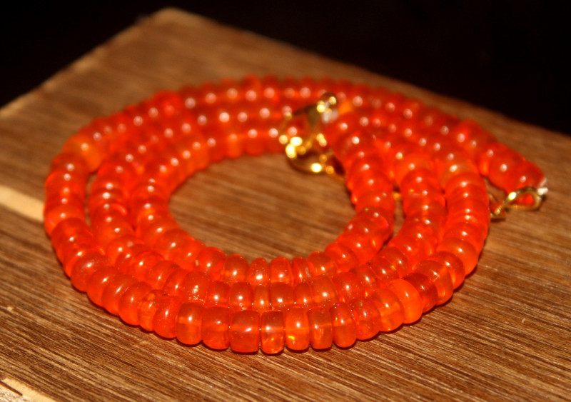 84 Crts Natural Welo Dyed Orange Opal Beads Necklace 142