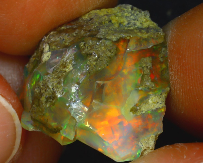 12.77Ct Multi Color Play Ethiopian Welo Opal Rough JF2226/R2
