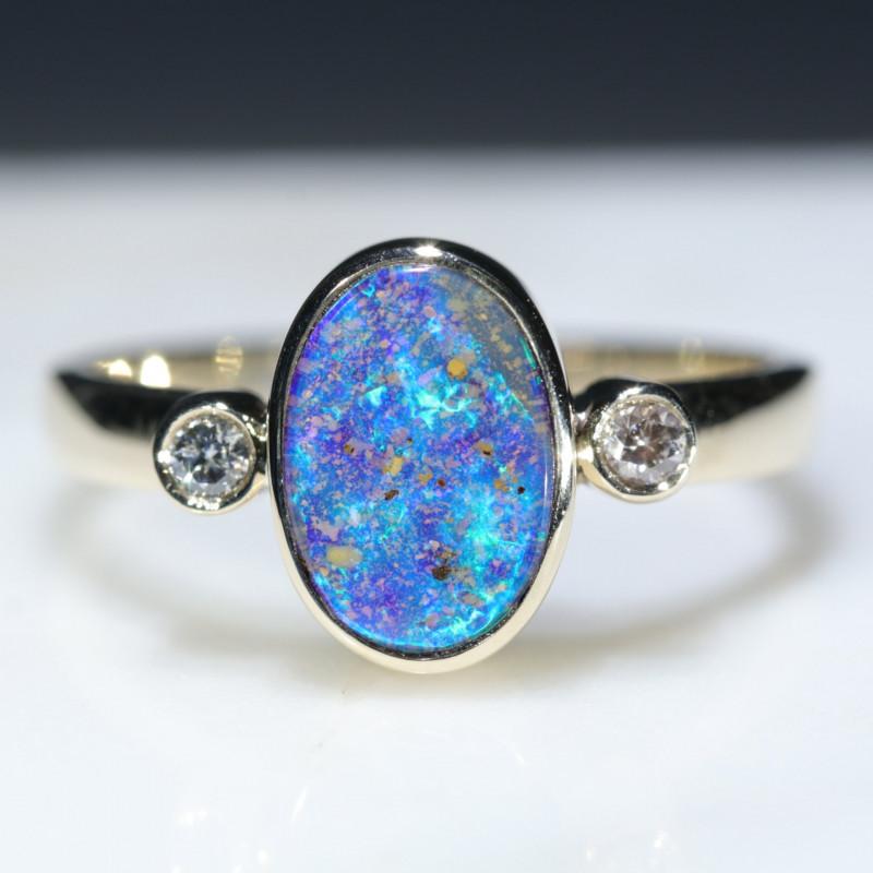 Natural Australian Boulder Opal and  Diamond Gold Ring.  Size 6.5 Code -RLJ