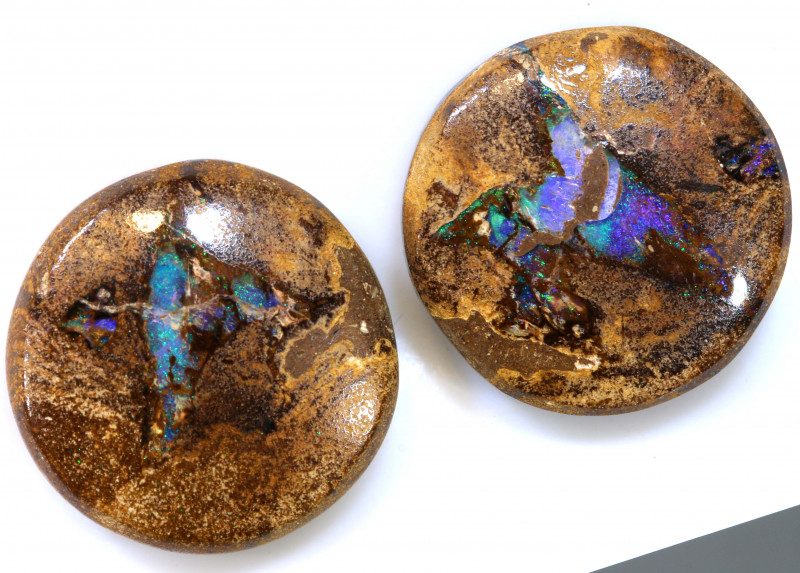 36.45 CTS BOULDER PIPE CRYSRTAL OPAL POLISHED STONE PAIR NC-9250