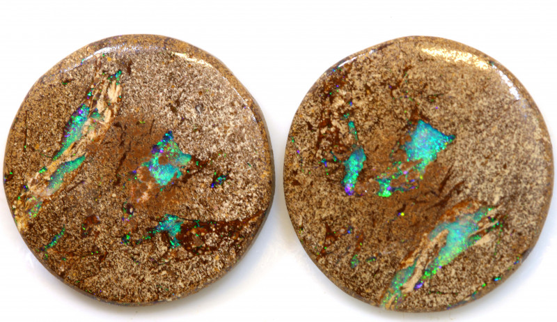 14.40 CTS BOULDER PIPE CRYSRTAL OPAL POLISHED STONE PAIR NC-9258