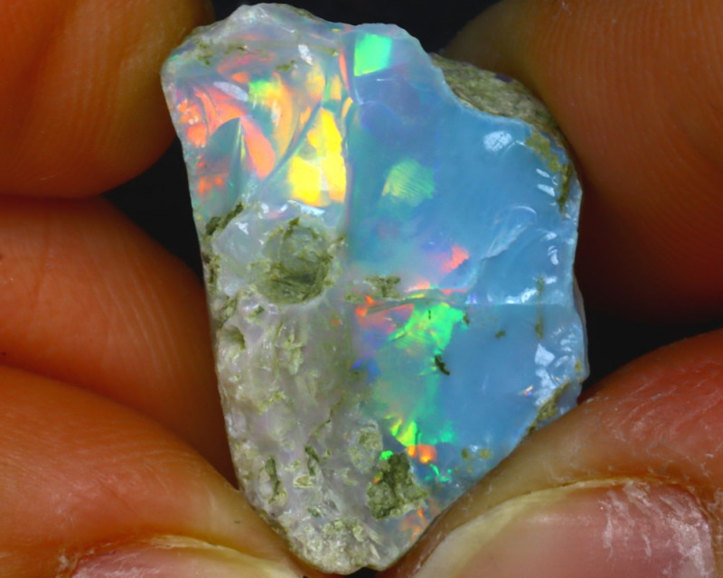 14.13Ct Multi Color Play Ethiopian Welo Opal Rough JF2821/R2