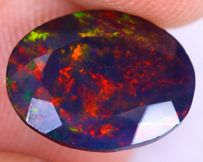 2.04cts Natural Ethiopian Welo Faceted Smoked Opal / NY2358