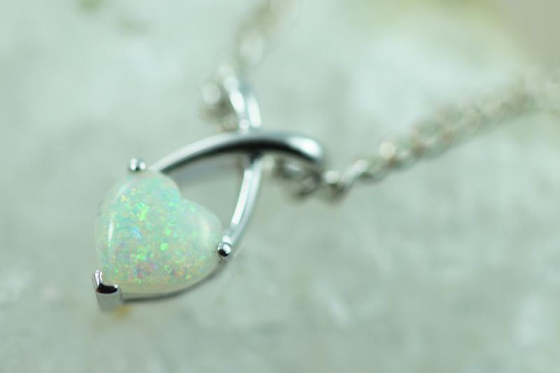 Cute Lovers Heart Crystal Opal set in 9k White Gold Pendant CK 574
