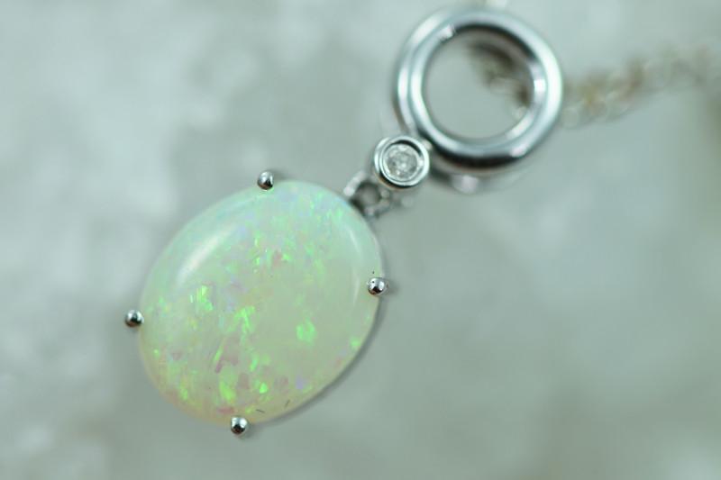 Cute Crystal Opal set in 14k White Gold Pendant CK 592