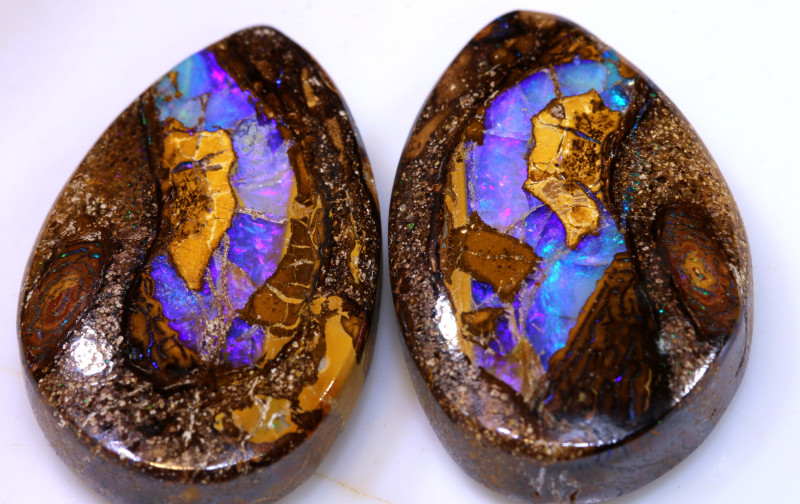 59.15 CTS BOULDER PIPE CRYSRTAL OPAL POLISHED STONE PAIR NC-9330