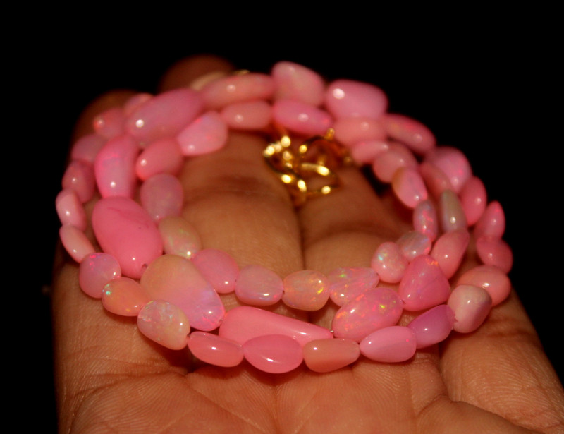 42 Crts Natural Dyed Pink Welo Opal Nuggets Necklace 169