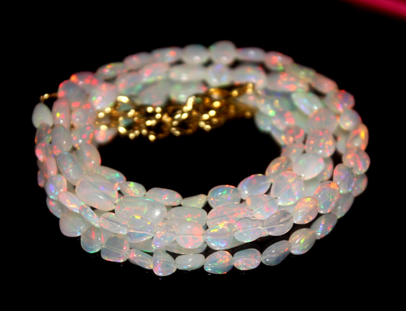 34 Crts Natural Ethiopian Welo Opal Nuggets Necklace 116
